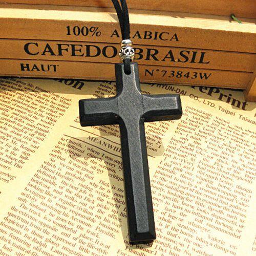 الخصم خشبية قلادة الصليب قلادة خمر الخرز والجلود الحبل سلسلة سترة الرجال النساء والمجوهرات أنيقة اليدوية