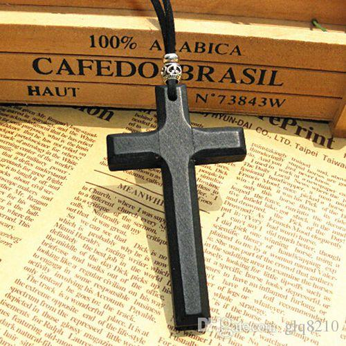 Xmas gifts wooden cross pendant necklace vintage Tibetan silver beads leather cord sweater chain men women jewelry handmade stylish