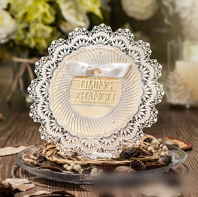 Round Lace Wedding Invitations 2016 New Designer Laser Cut Cheap Invitation Suppliers Customize Free Shipping High Quality