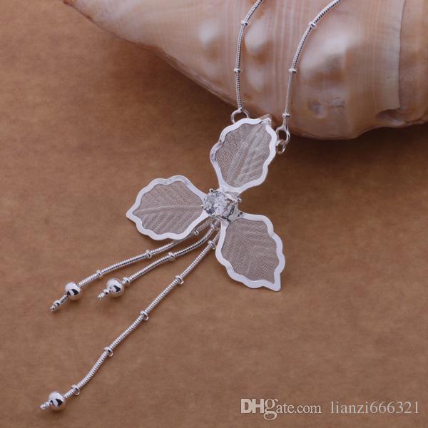 Gratis frakt med spårningsnummer bästa mest heta sälja kvinnors delikata present smycken 925 silver 3 blad blomma tofsels halsband