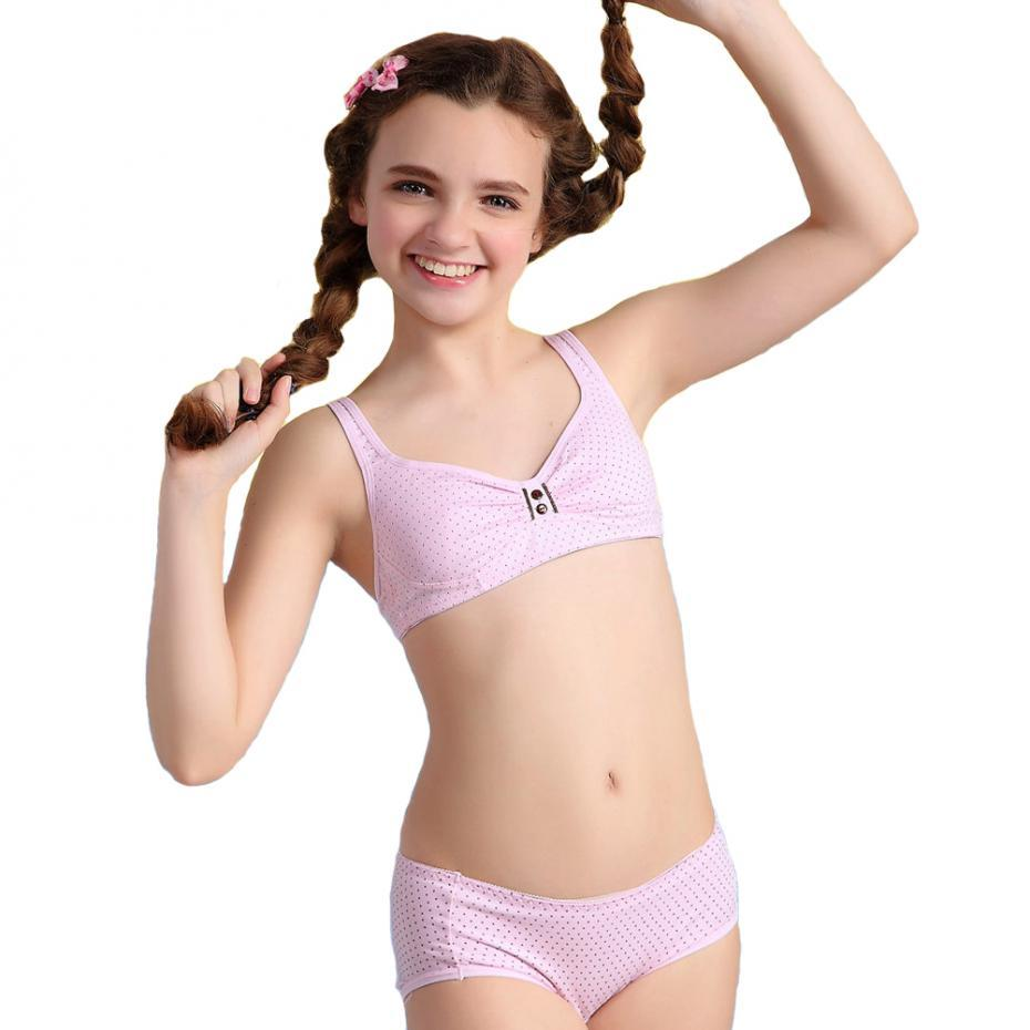 2016 puberty girls cotton bra and pants sets for girls kids girl