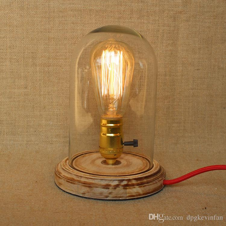 Handmade Wooden Lamps : Handmade wooden lamp with clear glass shade edison