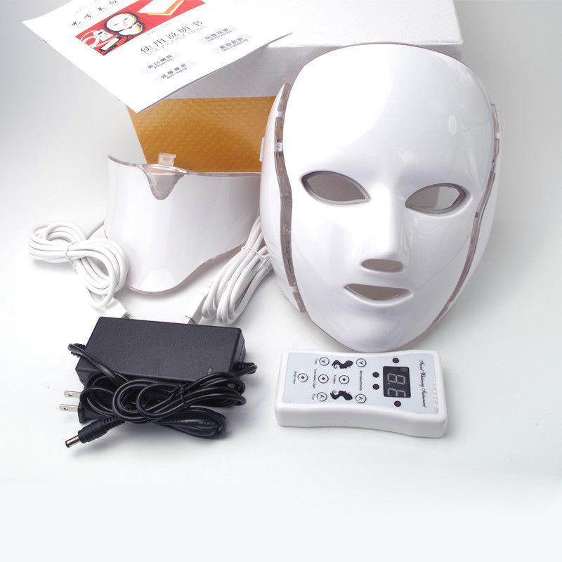 es PDT de luz LED Terapia cuello de la cara de la máscara anti-envejecimiento Dispositivo Rejuvenecimiento Terapia Arrugas Tratamiento Massager Relajación