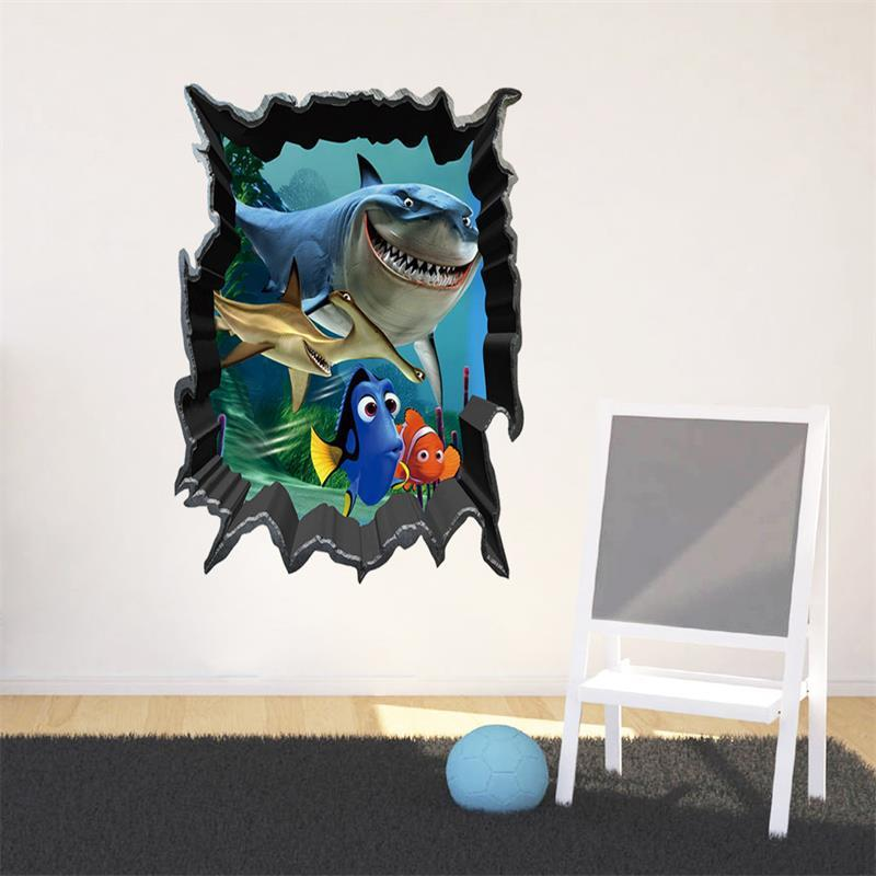 3D Scenery Wall Sticker Removable Cartoon Sea Shark Fish Dinosaur Wall  Decals For Kids Rooms Child Wallpaper 3D Art Decals Part 95