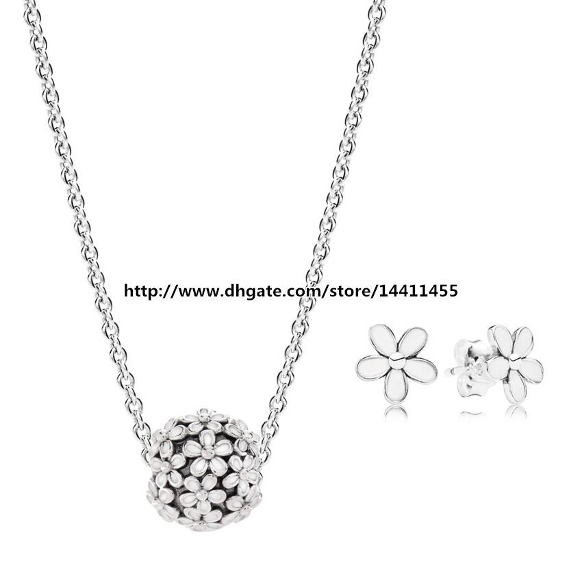 925 sterling silver necklaces and earrings jewelry charms sets fits 925 sterling silver necklaces and earrings jewelry charms sets fits european pandora jewelry charm and pendant dainty daisy sets pandora charms pandora aloadofball Images