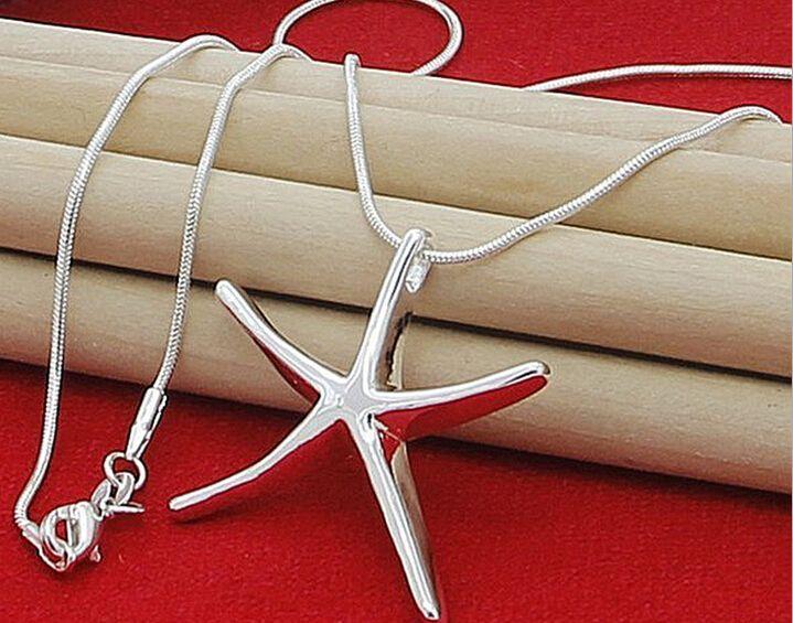 2016 Silver bijoux 925 Sterling Silver Mode Charm Starfish Pendentif Snake Chaîne de serpents Collier de pendentif de charme mignon