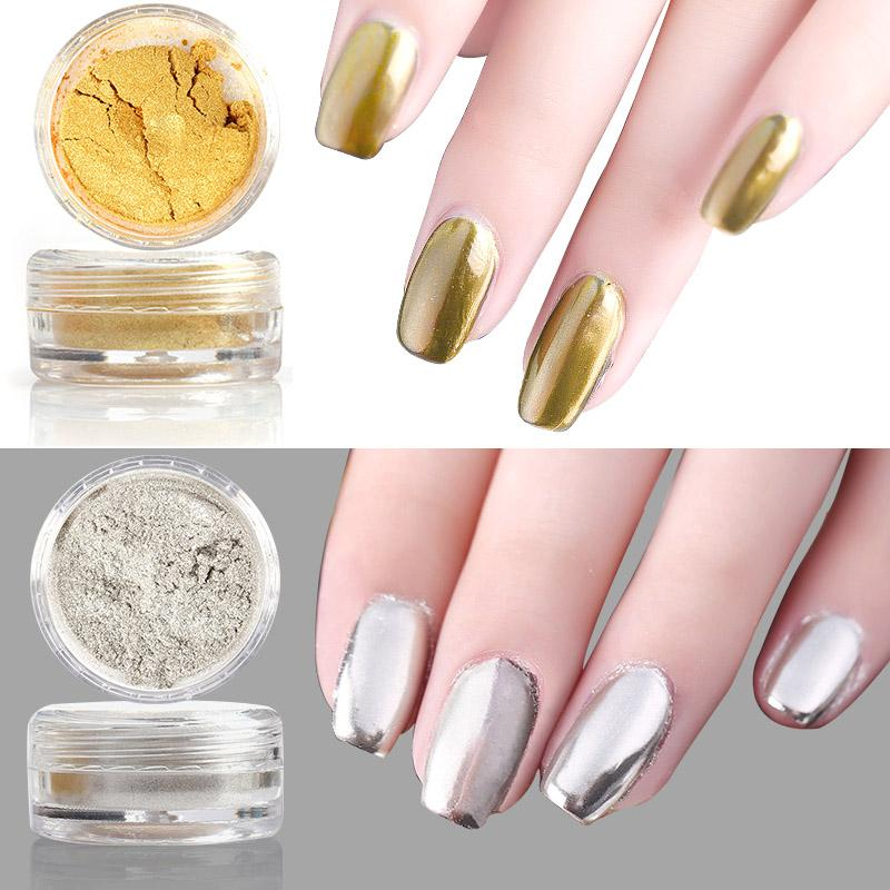 Wholesale 3g Metallic Mirror Powder Nail Glitters Dust Gold Silver ...