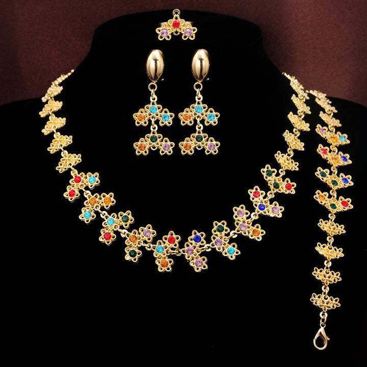 أحدث تصميم 14 كيلو الذهب مطلي الزهور متعددة الألوان كريستال قلادة أقراط سوار حلقة مجوهرات العروس مجموعة المرأة الحاضر