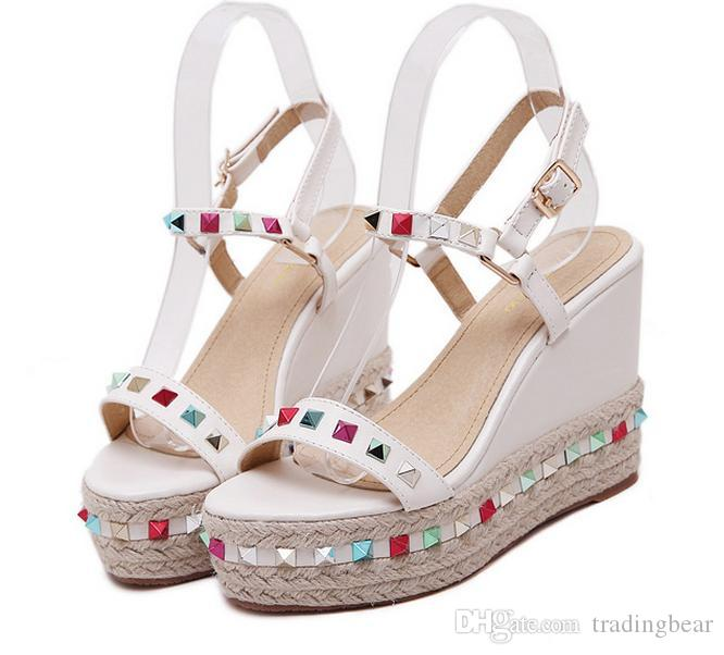 e8150d90edd Colorful Rivets Straw Woven High Platform Wedge Shoes Casual Style ...