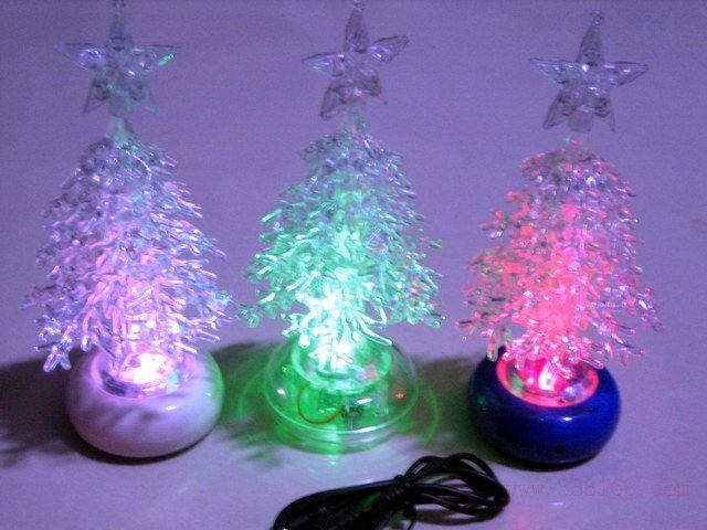 USB interface acrylique Colorful LED lumière émettant petit Noël arbre USB Noël décoration