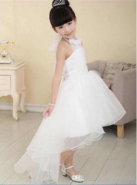 Blush vestidos de niña de las flores para bodas Nuevo invierno longitud de la cola larga vestido de niña de las flores de encaje de marfil es niñas vestidos de dama de honor