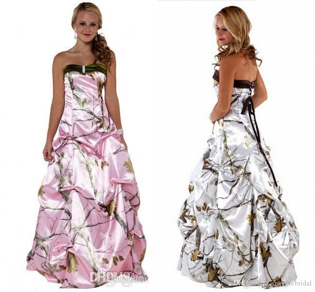 Discount White Pink 2016 Camo Wedding Dresses Realtree With ...