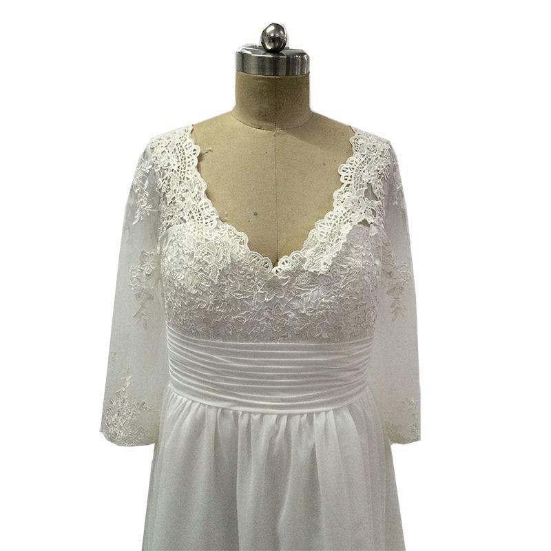 Vinoprom Real Phot Vestidos De Coctel Elegantes Custom Made Long Sleeve Short White Cocktail Dress 2019