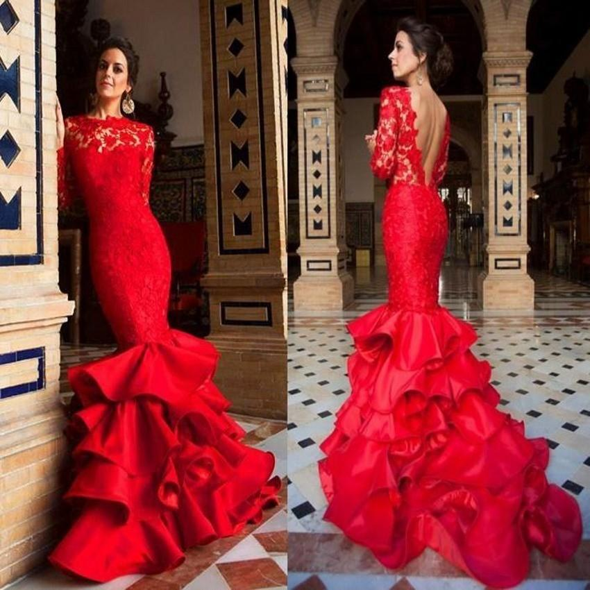 Fishtail Tiered Layered Ruffles Satin Prom Dresses 2019 Long Sleeve Red Lace Evening Dress For Women Pageant Celebrity