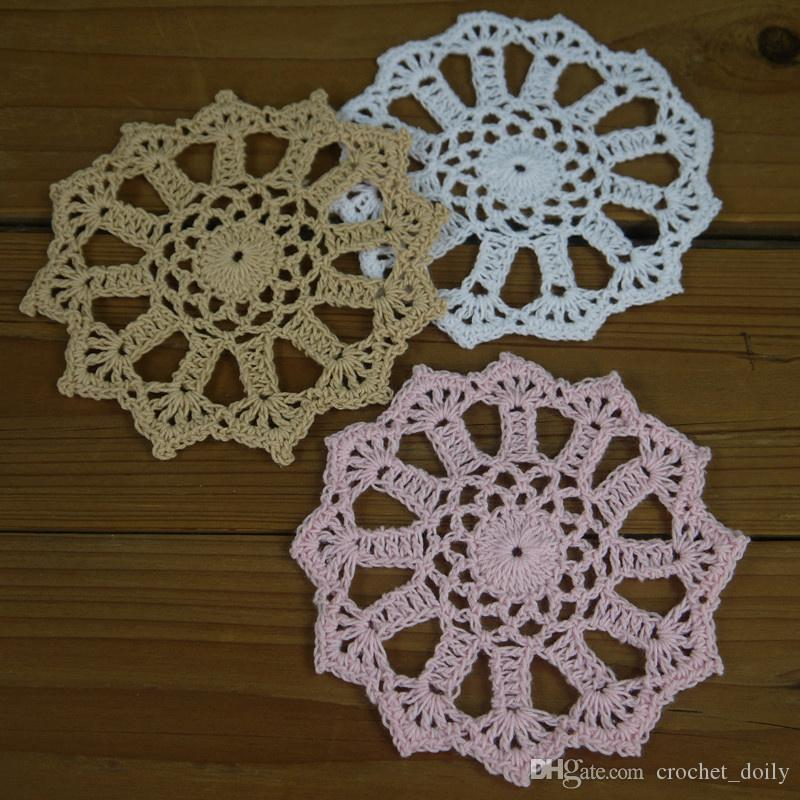 -12 design-- design - 8-13cm Hand Crochet Doilies Heart-shaped white Coasters mats applique Cotton Home