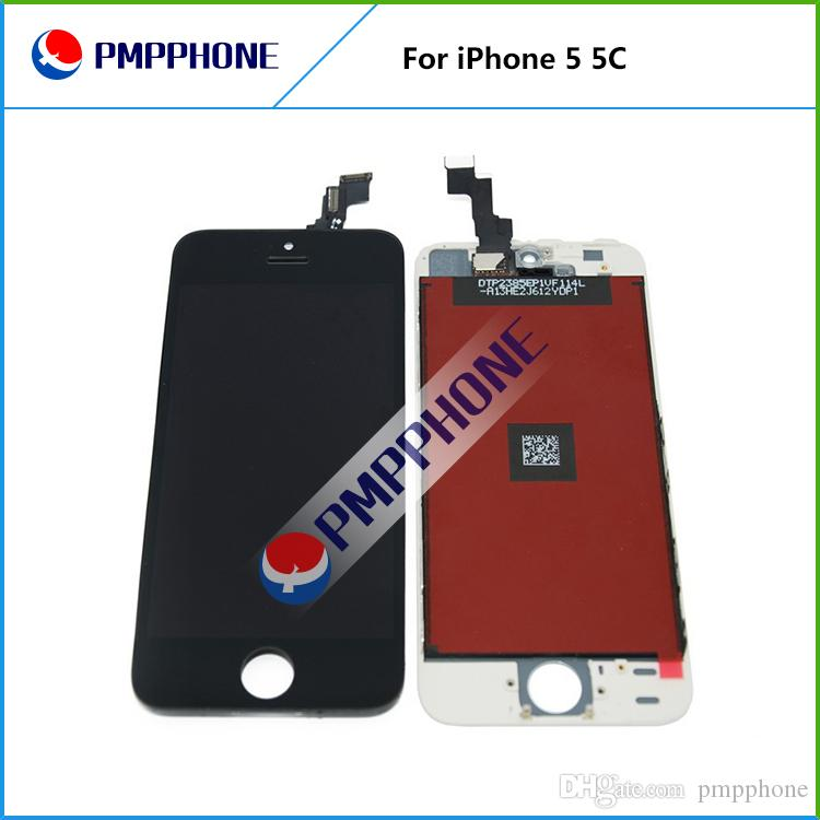LCD For iPhone 5 5C Free Fedex EMS DHL Ship with touch screen Full set Assembly White and black color