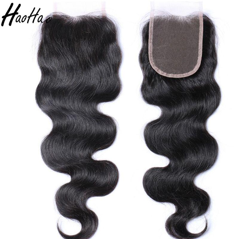 Brazilian Virgin Human Hair 4x4 Lace Closure 8-26 Inch Peruvian Malaysian India Hair Swiss Lace Customized