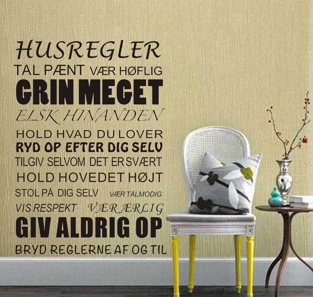 House Rules Wall Stickers Danish Vinyl Wall Art for Room Decor Wall ...