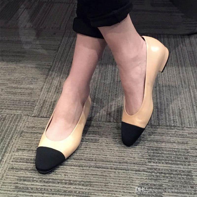 melhor versão! U521 34/40 GENUÍNO COURO COMBINADO BALLERINA FLATS C luxo desinger sapatos casuais vintage clássico bellet 2016 bege