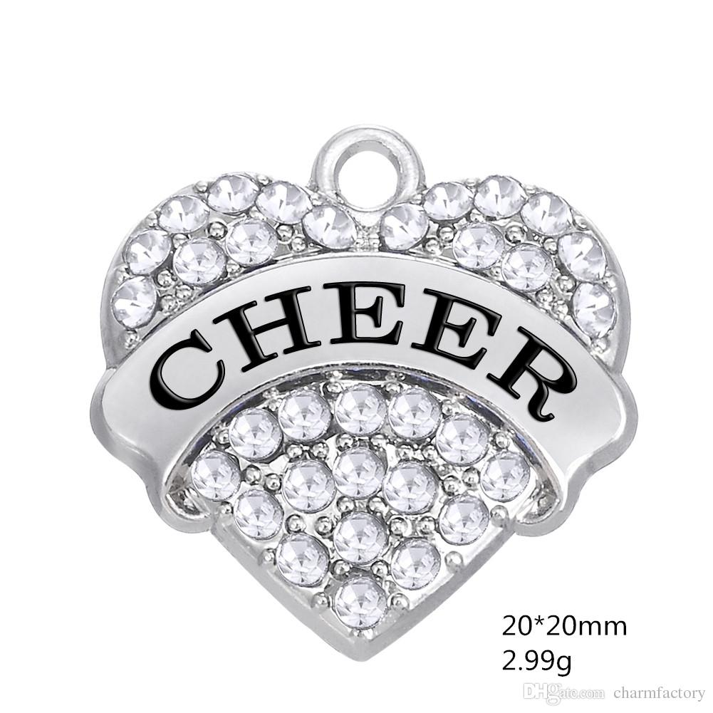 CHEER Crystal heart Charms Pendant Mixed Crystal Heart Love Women DIY Jewelry Rhodium Plated Fashion Findings Components hot sell