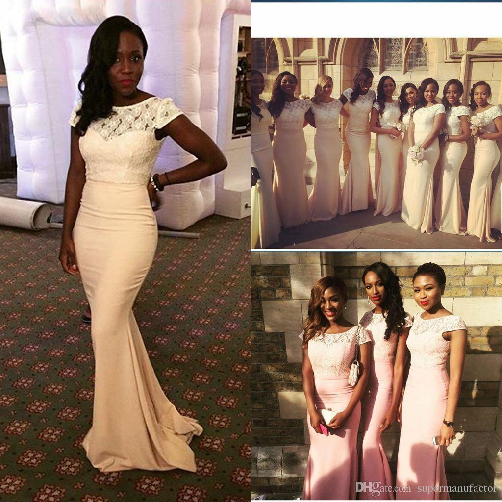 Nigeria style mermaid bridesmaids dresses sheer bateau lace cap see larger image ombrellifo Images