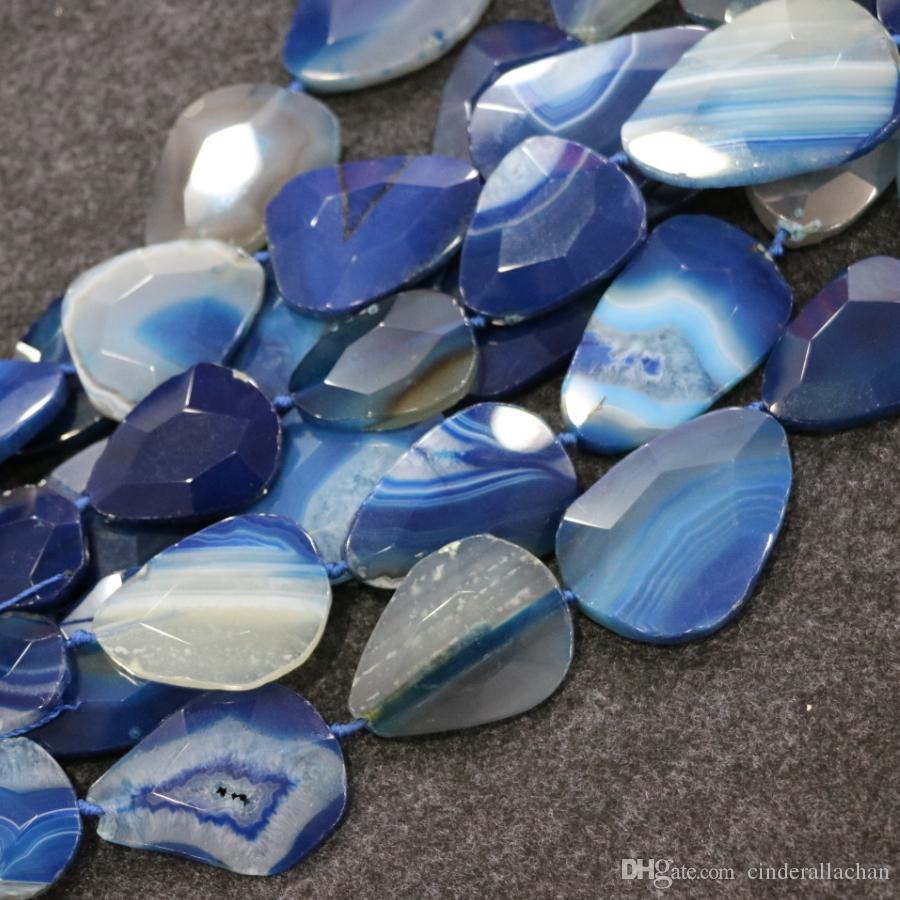 /1Strand Blue Druzy Agate Gemstone Beads, Natural Slice Slab Drusy Druzy Agate Necklace Pendant Connector Jewelry Making Wholesale