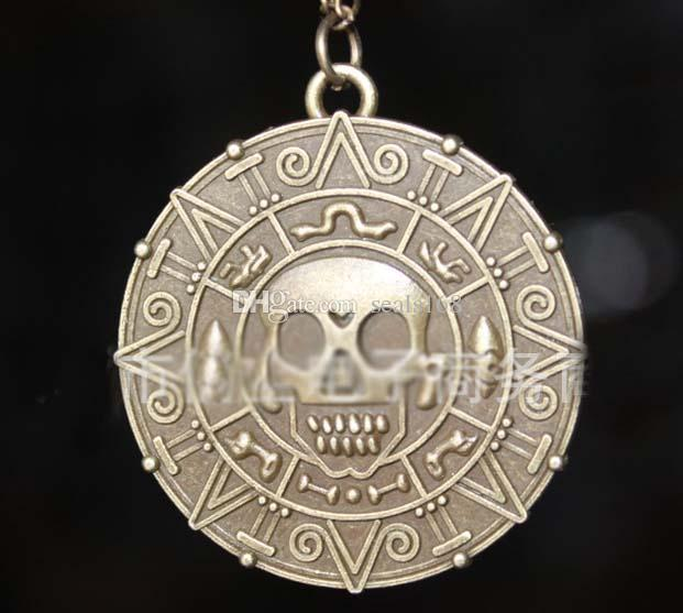 Livre DHL Colar de Pingente de Pirata Camisola Cadeia Colar Caribe Americano Retro Rodada Crânio Colares Capitão Jack Bronze Jóias ZJ-N17