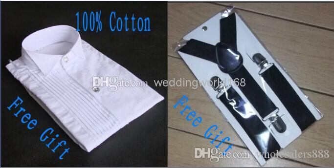 Custom Made One Button Boy Smoking Kerbe Revers Kinderanzug Black Kid / Ring Hochzeit / Prom Anzüge Jacke + Hose + Krawatte + Weste + Shirt + Hosenträger F70