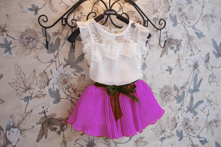 Vêtements d'été fille ensemble coréen gilet en mousseline de soie chemise + jupe courte enfants costume 3 couleur en Stock 100-140 Fit 3-8Age Chidlren définit WD415