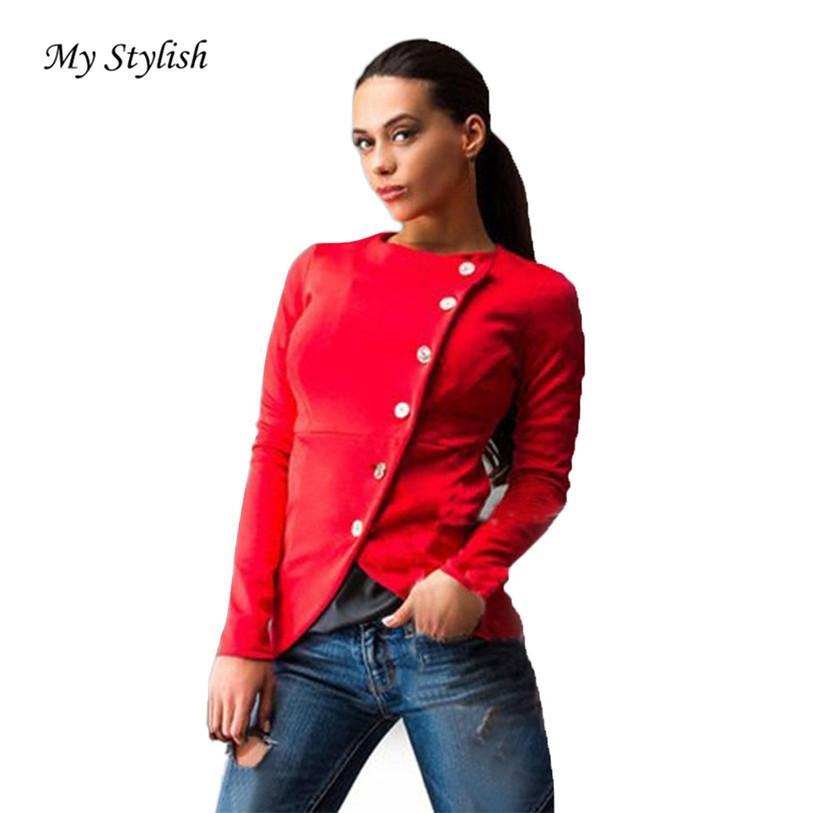 91341123244 Wholesale Women Fashion Slim Button Casual Suit Lady Jacket Coat ...