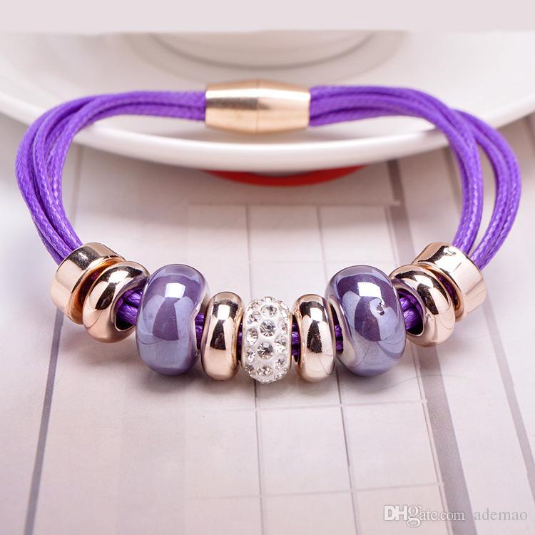 New Crystal European Bead Pan Charm Armbänder Rose Gold Lederarmband mit Magnetverschluss Schmuck Weihnachtsgeschenk in Groß Günstige!