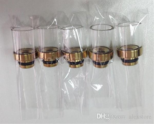 5 kolorów Pyrex Glass Clear Driptip Ze Stali Nierdzewnej Copper Gold Black Rainbow RDA Drip Wskazówka 510 RBA SS szerokie otwór Ustnik do atomizer DHL