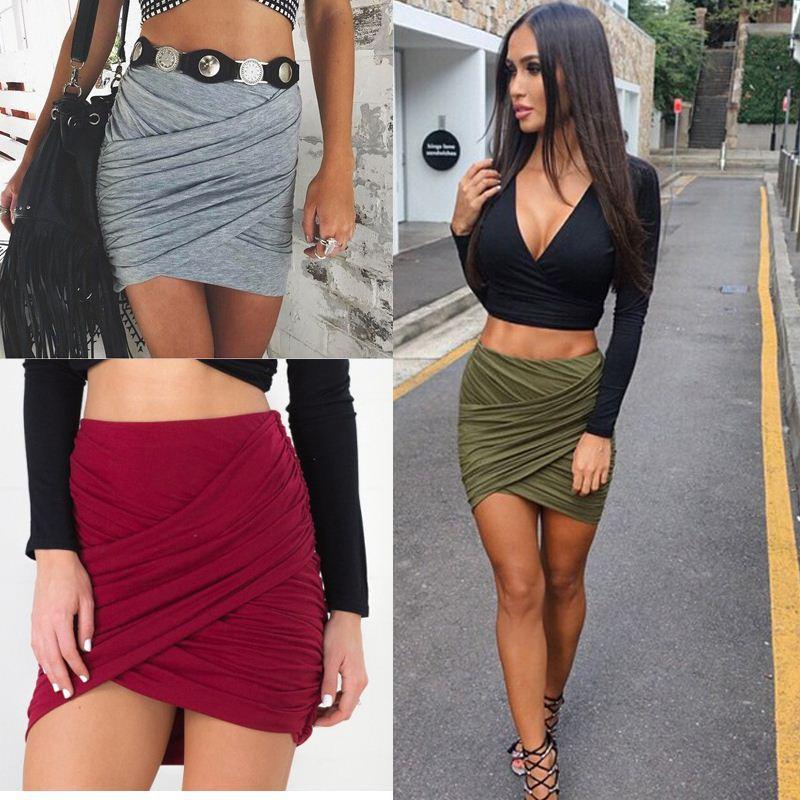 2018 2015 Women Sexy Short Skirt Gray Cotton Skirts Womens ...