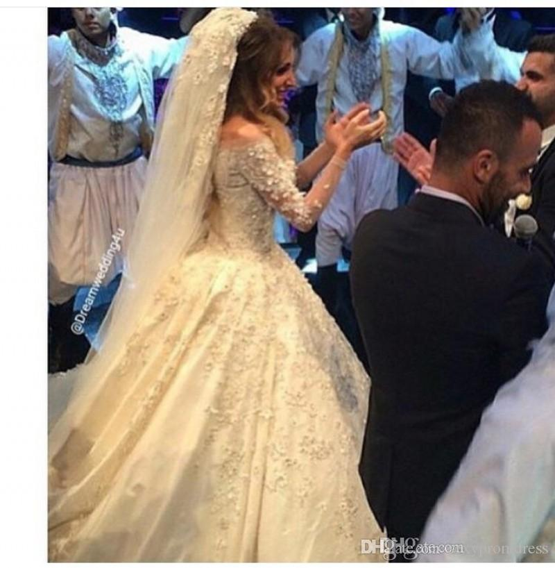 Abiti da sposa di lusso 2016 Off spalla scollo av merletto pieno applique in rilievo sheer manica lunga abiti da sposa su misura una linea abiti da sposa