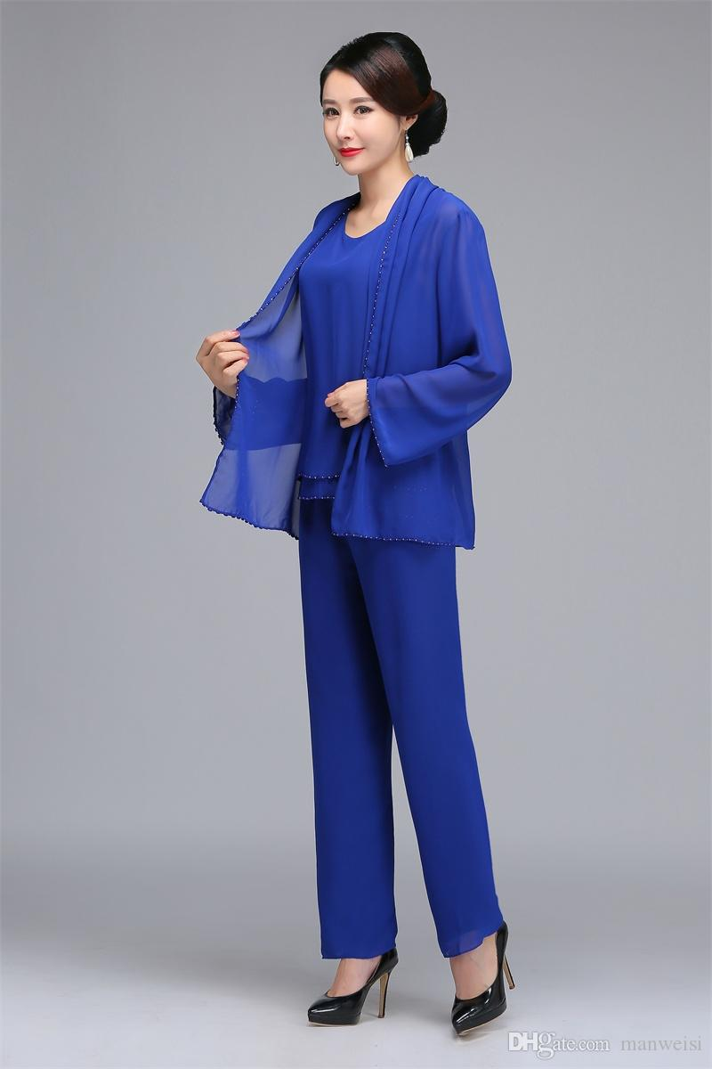 Elegant Royal Blue Beaded Mother Of The Bride Pant Suits With Jacket Chiffon Boho Mothers Outfit Formal Garment Cheap Wedding Guest Dress