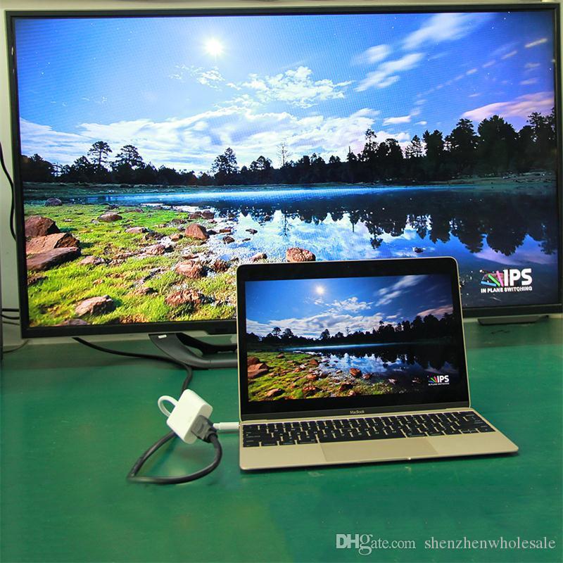 Consigliabile Baiy V12 USB 3.1 Tipo C Ad HDMI White Cable Adapter 22cm HDMI 1.4 Connect Monitor HDTV Adatto dispositivi USB 3.1