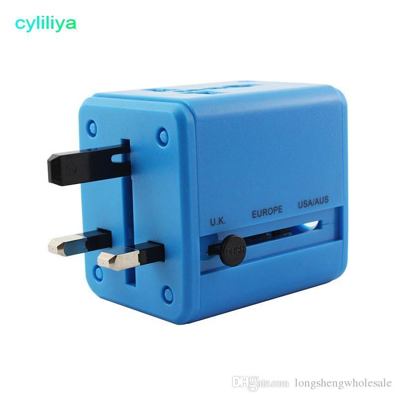 США Великобритания ЕС AU Plug Универсальный все в одном Международный путешествия адаптер питания зарядное устройство с двумя портами USB зарядное устройство 5V / 1A