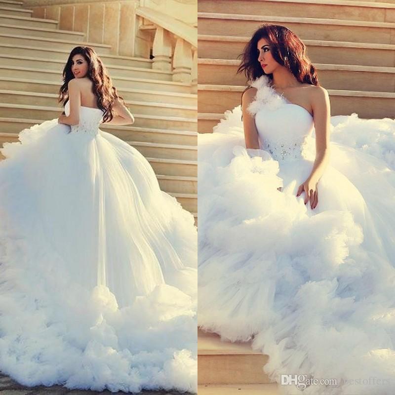 2016 Luxury Cloud Wedding Dresses Beads Waist One Shoulder Tiered Skirts Ball Gown Court Train Bridal Gowns Custom Made Ba0796 Renaissance