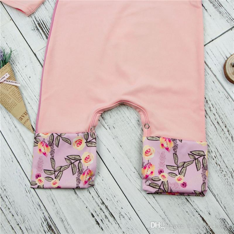 Neonate Vestiti 2018 Primavera Autunno Pink Squirrel Stampa Flower Pagliaccetto Abbigliamento bambini Pagliaccetti in cotone Tuta Bambini Abbigliamento Boutique