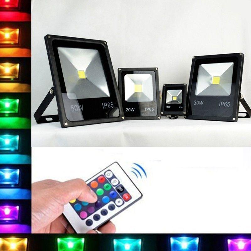 Ultra Thin Black Waterproof RGB Floodlight 10W 20W 30W 50W Led Flood Light 85-265V LED Lamp Outdoor Projector Lighting + Remote Cotnrol