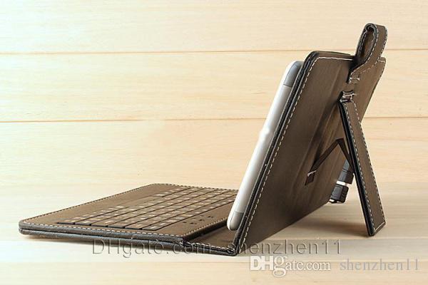 7 pouces 8 pouces en cuir PU Tablet PC cas avec Micro Interface Port USB Clavier fit MID Tablet PC Noir Couverture ajustable Free ship PCC015
