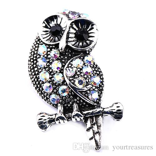 Big Vintage Crystal Owl Snap Buttons with Stone Antique Silver 18mm Alloy Buttons Jewelry Fit DIY Snap Bracelets Bangles