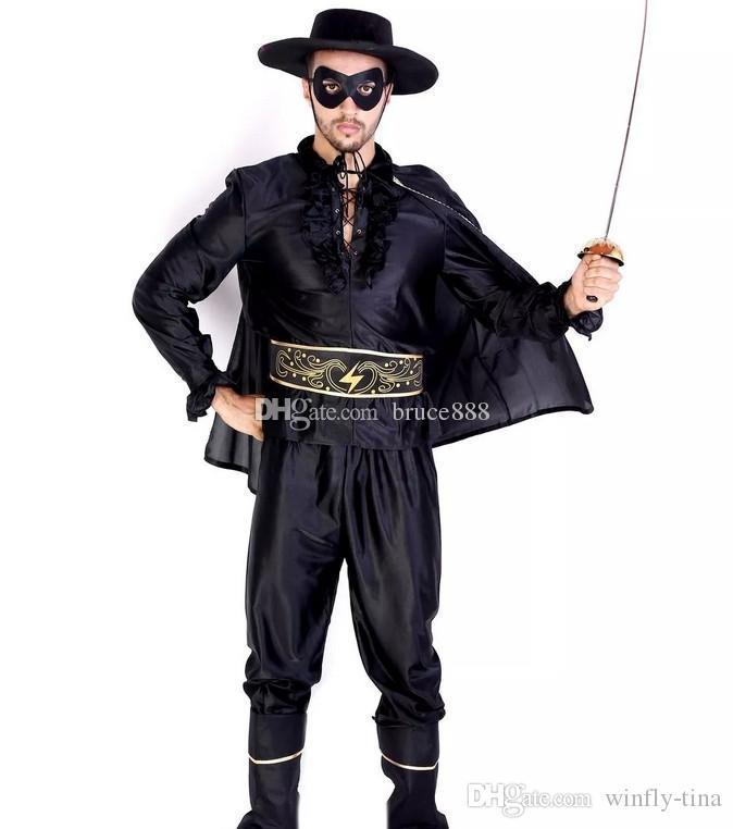 Adult Chivalrous Robbers Swordsman Zorro Suits Classic Halloween ...