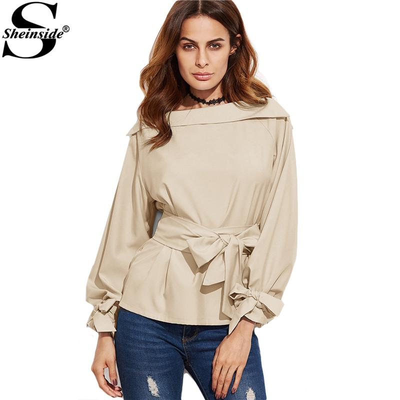 e8a48f9d167 2019 X201711 Sheinside Women Business Casual Clothing Ladies Office Shirts  Khaki Foldover Boat Neck Belted Waist And Cuff Blouse From Huang02