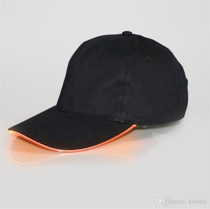 LED Baseball Caps Cotton Fiber Optic Shining LED Light Ball Caps Glow In Dark Adjustable Snapback Hats Luminous Party Hats Snapback