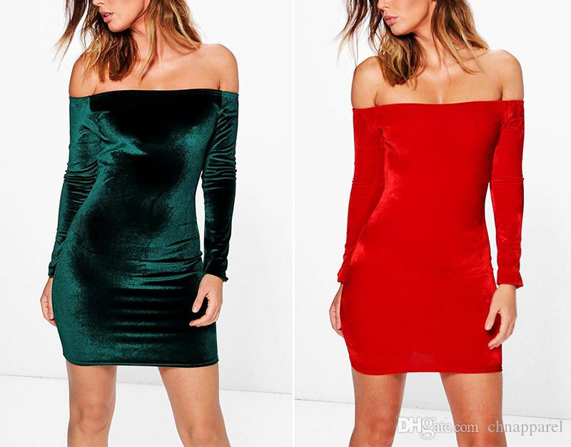 Sexy Off Shoulder Wine Red Sheath Velvet Dress Women Winter Party Long Sleeve 2017 Elegant Pencil Bodycon Ladies Dress Vestidos