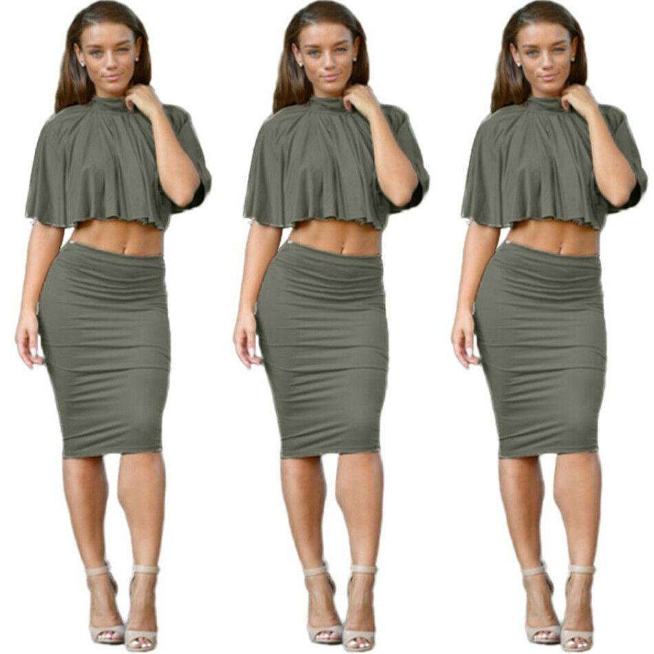 2017 Women Two Piece Outfits 2016 Sexy Set Bandage Dress Backless ...