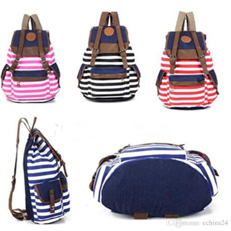 Canvas Backpack School Bag Super Cute Stripe School College Laptop ...