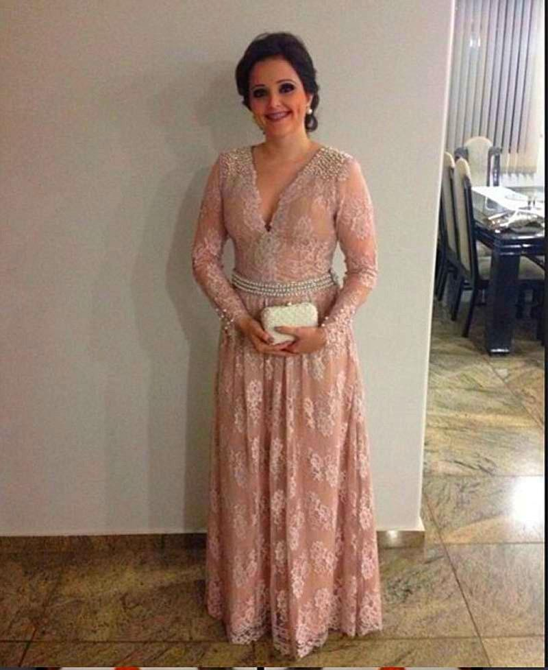 Long Sleeve Mother Of The Bride Groom Dresses 2016 V Neck Floor
