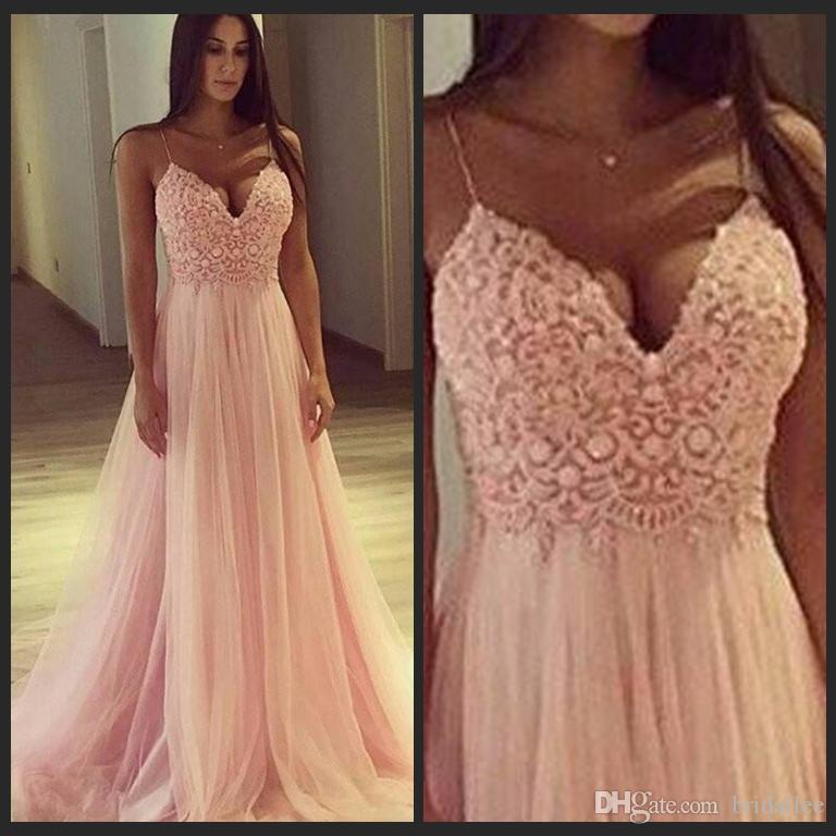 Сексуальные ремни Спагетти Розовый Тюль Длинные вечерние платья Line Кружева Топ Длинные платья выпускного вечера Дешевые Выполненные на заказ Vestidos De Fiesta
